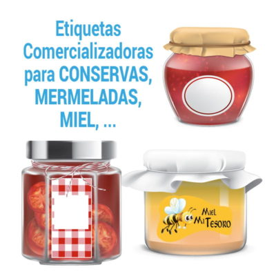 Etiquetas Miel, mermeladas y Conservas – pegatinas para frascos de vidrio