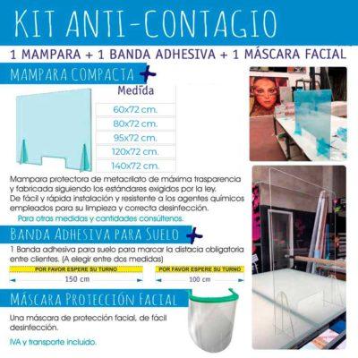 Mampara mostrador metacrilato con ventana + Pantalla facial protección + banda adhesiva